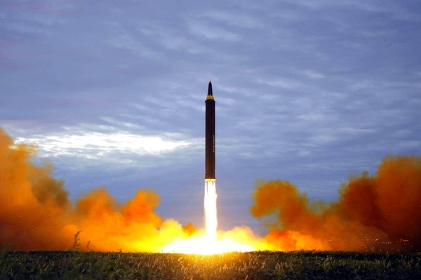 This Aug. 29, 2017, file photo distributed on Aug. 30, 2017, by the North Korean government shows what was said to be the test launch of a Hwasong-12 intermediate range missile in Pyongyang, North Korea. (Korean Central News Agency/Korea News Service via AP, File)