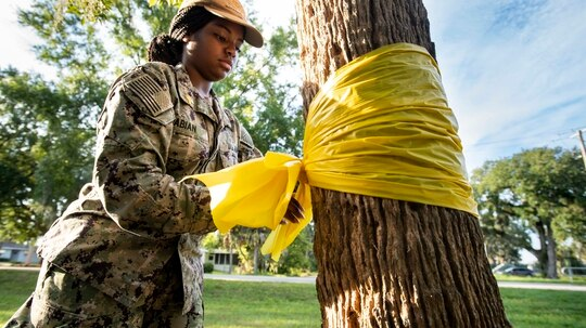 Personnel Specialist Seaman Jenesis Fabian ties a yellow ribbon around a tree at Mayport Memorial Park in recognition of Suicide Awareness Month. (MC3 Alana Langdon/Navy)