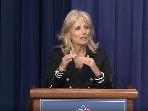 Dr. Jill Biden speaks in April 2016, at an event for Operation Educate the Educators: Recognizing and Supporting our Military-Connected Students. (White House)