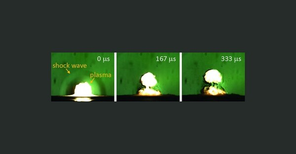 The resulting shock wave, shown in the first frame, can give researchers a good idea of an explosive's volatility. (U.S. Army)