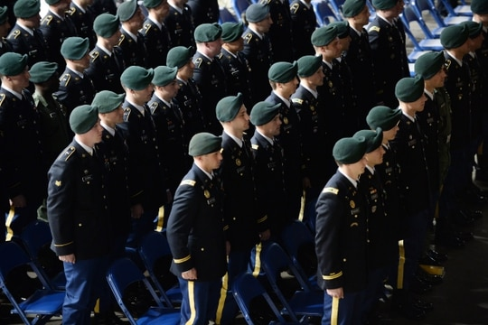 Soldiers assigned to the U.S. Army John F. Kennedy Special Warfare Center and School stand at attention during formation at the Crown Arena in Fayetteville, North Carolina January 16, 2020. (K. Kassens/Army)