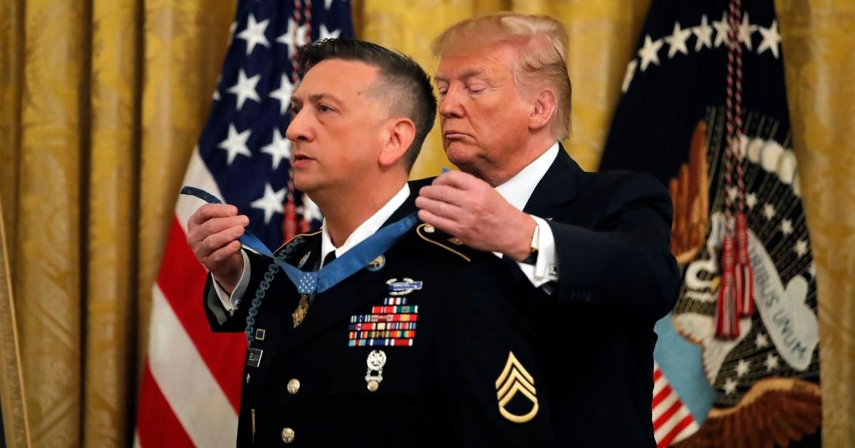 President Donald Trump bestows Medal of Honor on David Bellavia, the first living Iraq War recipient