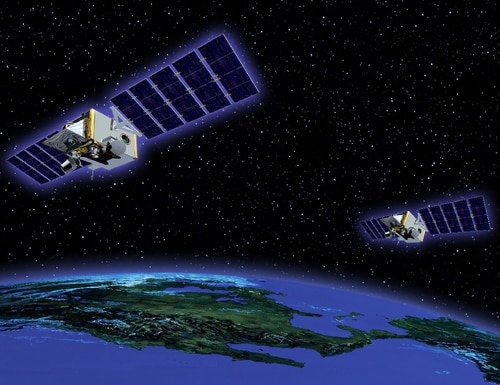 Both Space Tracking and Surveillance System Demonstrator satellites are shown in their tandem flight configuration in this artist's concept. (U.S. Missile Defense Agency)