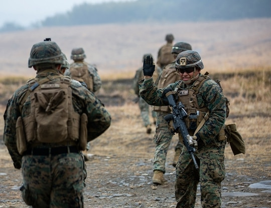 Marines disembark from an MV-22B Osprey to conduct on-off drills during exercise Forest Light Western Army at Camp Oyanohara, Kyushu, Japan, Jan. 22, 2020. (Lance Cpl. Ethan M. LeBlanc/Marine Corps)