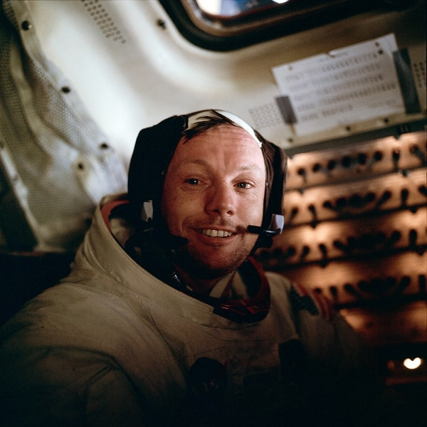 Astronaut Neil A. Armstrong, Apollo 11 commander, inside the Lunar Module LM as it rests on the lunar surface after completion of the Extravehicular Activities EVA. (NASA)