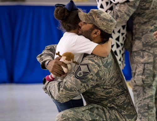 Family, friends and coworkers welcomed back airmen from the 823d Base Defense Squadron on April 20, 2017, at Moody Air Force Base, Ga. ( Airman 1st Class Janiqua P. Robinson/Air Force)