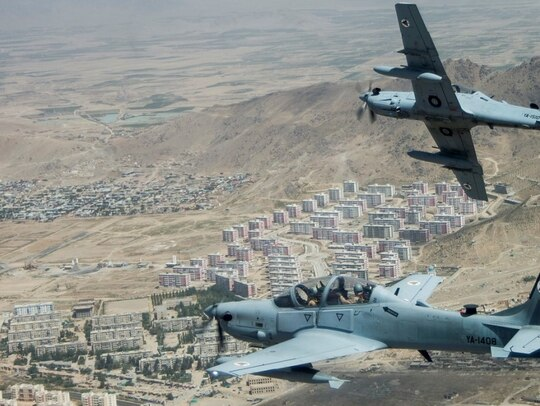 An Afghan Air Force A-29 Super Tucano returns from a sortie in Kabul, Afghanistan, on Aug. 14, 2015. (Staff Sgt. Larry E. Reid Jr./U.S. Air Force)