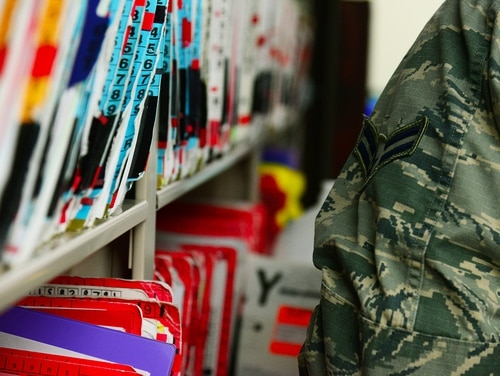 Medical records are filed at a 341st Medical Operations Squadron clinic on Jan. 30, 2017, at Malmstrom Air Force Base, Mont. (Airman 1st Class Magen M. Reeves/Air Force)