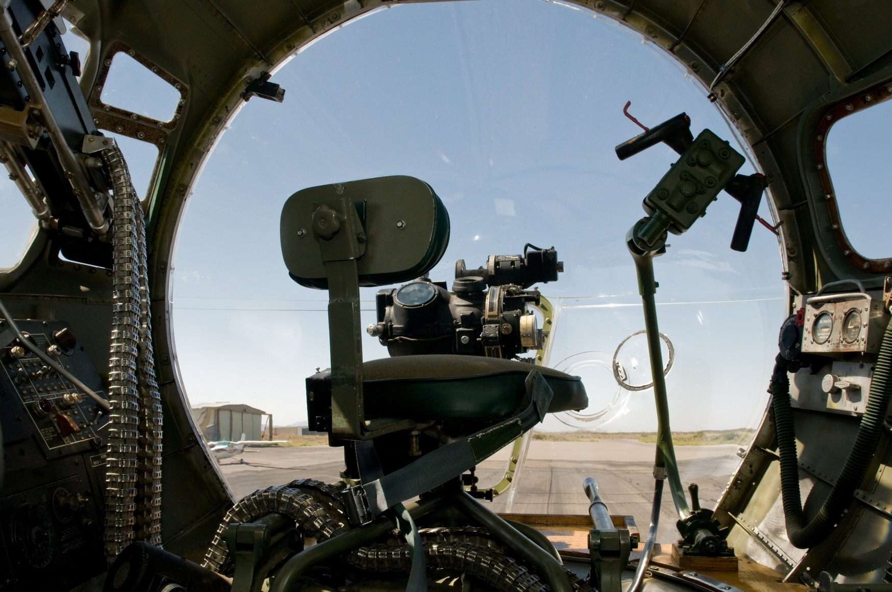 The bombardier's position of the B-17G Flying Fortress. (Lt. Tyler Ginter/Army)