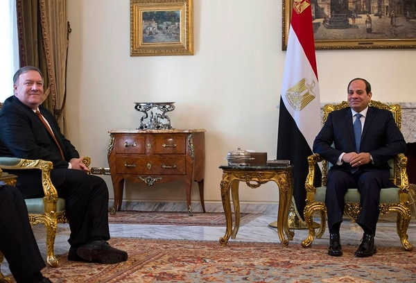 U.S. Secretary of State Mike Pompeo, left, meets with Egyptian President Abdel-Fattah el-Sissi in Cairo on Thursday, Jan. 10, 2019. Pompeo is in Cairo for talks with Egyptian leaders as he continues a nine-nation Middle East tour aimed at reassuring America's Arab partners that the Trump administration is not walking away from the region. (Andrew Caballero-Reynolds/Pool Photo via AP)