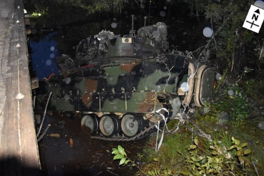 An M2A3 Bradley is pulled from a creek after flipping over a bridge at Fort Stewart, Georgia, on Oct. 20, 2019. (FOIA/Army)