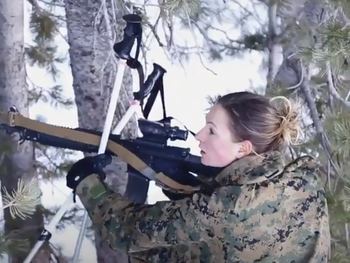 Sgt. Tara-Lyn Baker is the first female Marine to graduate from Winter Mountain Leaders Course. (Marine Corps)