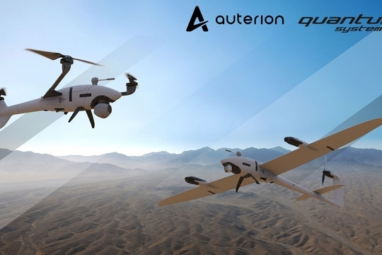 Scorpion is the tricopter, and vector is the fixed wing drone. (Image courtesy Auterion government solutions)
