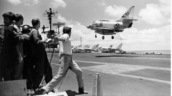 The Navy also flew A-4F Skyhawks. This one from the Rampant Raiders of Attack Squadron 212 is on its way to trapping aboard the aircraft carrier Hancock off the coast of Vietnam in 1966.