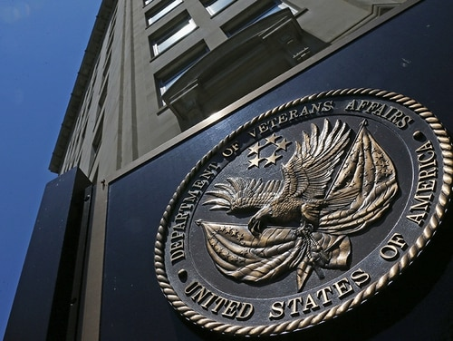 The seal a fixed to the front of the Department of Veterans Affairs building in Washington is shown on June 21, 2013. (Charles Dharapak/AP)
