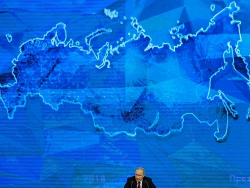 Russian President Vladimir speaks during his annual news conference in Moscow, Russia, on Dec. 20, 2018. (Alexander Zemlianichenko/AP)
