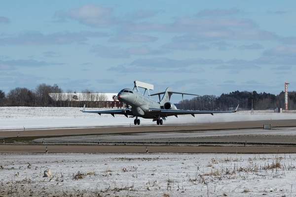GlobalEye took off on its maiden flight March 14 from Saab's airfield in Linköping, Sweden. (Saab)