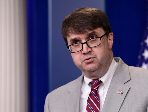Robert Wilkie, then-acting Veterans Affairs Secretary, speaks during a daily briefing at the White House on May 17, 2018. A Senate committee on Tuesday advanced Wilkie's nomination to be the permanent head of the department. (Susan Walsh/AP)