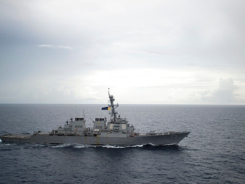 """In this Oct. 13, 2016, photo, the guided-missile destroyer Decatur operated in the South China Sea as part of the Bonhomme Richard Expeditionary Strike Group. China's ambassador to the United States has defended the Chinese navy's action in a close encounter with the U.S. destroyer in the South China Sea, saying America's warships are """"on the offensive"""" near Chinese territory. (Navy via AP)"""