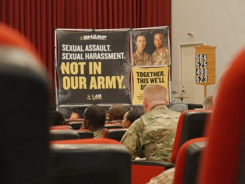 Soldiers stationed in Kuwait attend the 4th Quarter Sexual Harassment Assault Response Prevention (SHARP) training at Camp Arifjan, Kuwait on 2 July 2019. (U.S. Army National Guard photo by Staff Sgt. Veronica McNabb)
