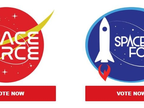 The campaign to re-elect President Donald Trump released six images of potential space force logos as part of a fundraising letter on the same day Vice President Mike Pence announced the creation of a sixth military branch to handle space defense. Screenshot of Trump/Pence political action committee letter.