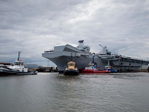 Britain's 65,000-ton warship HMS Queen Elizabeth sailed into its home port of Portsmouth for the first time on Aug. 16. Sea trials got underway June 27 at Rosyth Dockyard, Scotland, where the warship was built. (Courtesy of the British Ministry of Defence)