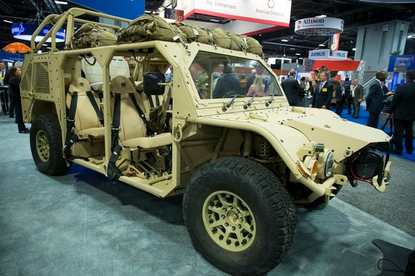 General Dynamics shows off its Flyer 72 at AUSA's annual meeting. The vehicle is on contract with U.S. Special Operations Command. (Mike Morones for Army Times)