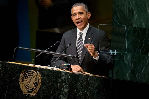 FILE - In this Sept. 27, 2015, file photo, President Barack Obama speaks at the United Nations Sustainable Development Summit, Sunday, Sept. 27, 2015, at the United Nations headquarters. Face-to-face for the first time in nearly a year, Obama and Russian President Vladimir Putin on Monday, Sept. 28, will confront rising tensions over Moscow's military engagement in Syria, as well as the stubborn crisis in Ukraine. (AP Photo/Andrew Harnik, File)