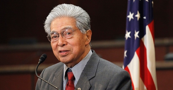 In this Feb. 16, 2011 file photo then-Sen. Daniel Akaka, D-Hawaii, speaks during a news conference on Capitol Hill in Washington. (Alex Brandon/AP)
