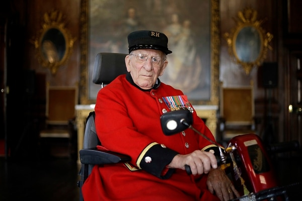 In this May 13, 2019, photo, British D-Day veteran Frank Mouque poses for a portrait during a 75th anniversary D-Day event at the Royal Hospital Chelsea in London. More than 150,000 troops crossed the English Channel on D-Day, and more than 2 million Allied troops were in France by the end of August. Among them was Mouque, who landed on Sword Beach as a 19-year-old corporal with the British Royal Engineers. (Matt Dunham/AP)