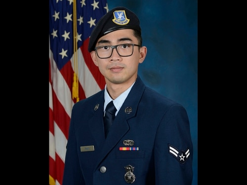 Senior Airman Jason Khai Phan, photographed in 2019 as an airman first class, 66th Security Forces Squadron, of Anaheim, Calif., died as a result of non-combat related injuries while conducting a routine patrol outside the perimeter of Ali Al Salem Air Base, Kuwait, Sept. 12. (Air Force)