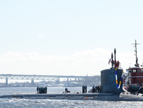 The Virginia-class attack submarine Minnesota returns from deployment. Navy and industry officials are beginning to worry about the stability of the submarine industrial bases ahead of the start of its top shipbuilding priority, the Columbia-class ballistic missile submarine program. (U.S. Navy)