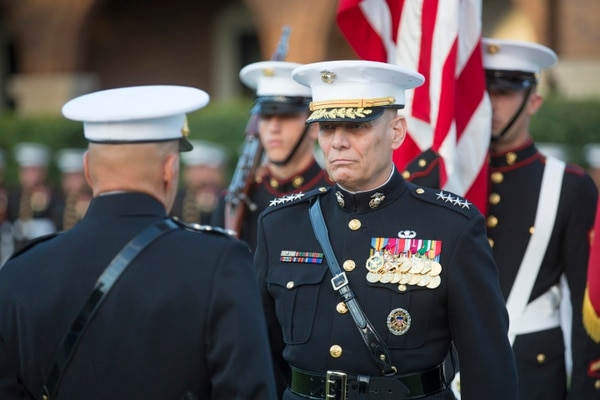 Gen. John M. Paxton, Jr., outgoing Assistant Commandant of the Marine Corps, during his retirement ceremony at the Marine Barracks Washington. (Alan Lessig/Staff)