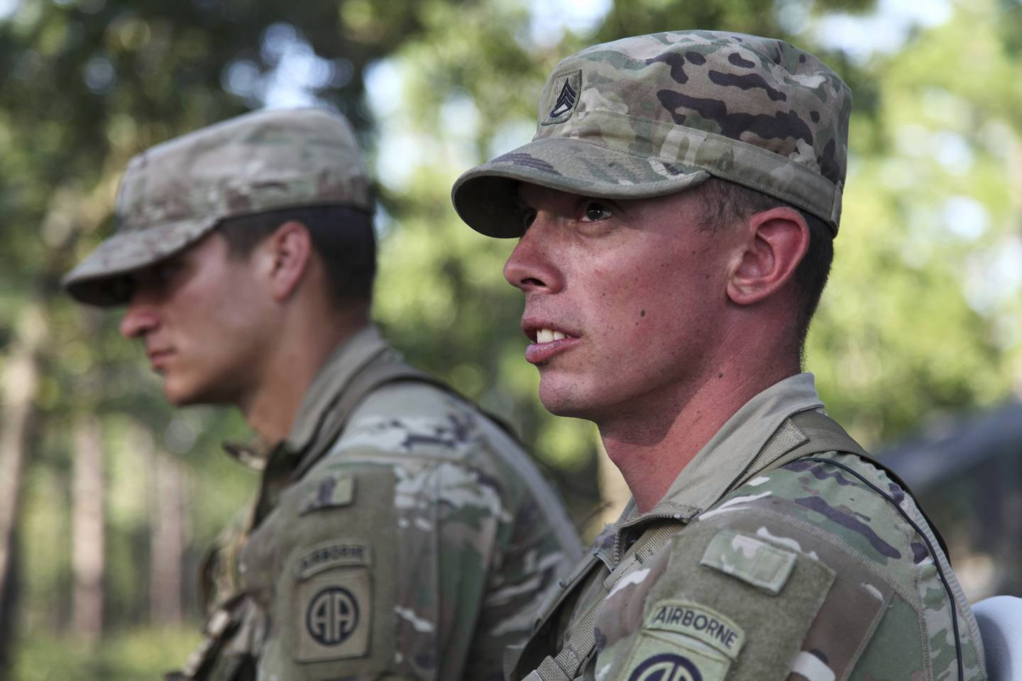 Staff Sgt. Ryan Graves talks about the death of his fellow solider, Staff Sgt. Jason Lowe, during an interview on Aug. 26, 2020, on Fort Bragg, N.C.