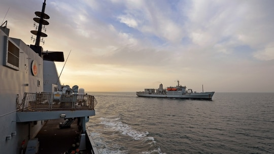 Royal Fleet Auxiliary ship Fort Austin helps ensure Royal Navy ships across the globe have the food, ammunition and explosives needed to carry out vital operations. (British Ministry of Defence)