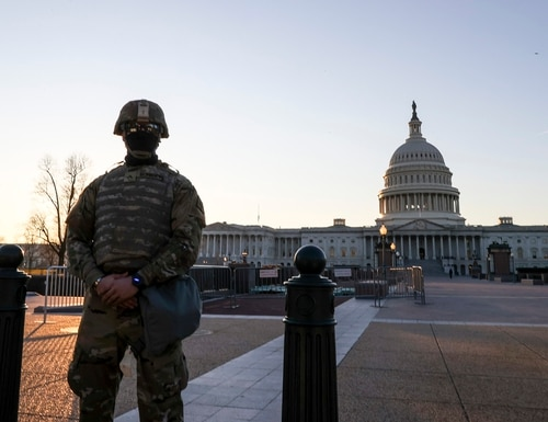 National Guard troops stand guard at the U.S. Capitol on Jan. 12, 2021, in Washington, D.C. (Tasos Katopodis/Getty Images)