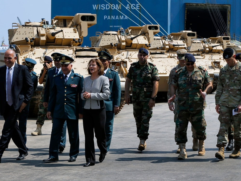 United States Ambassador to Lebanon Elizabeth Richard, center, inspects military vehicles that were unloaded from a ship at Beirut's port in Lebanon, Monday, Aug. 14, 2017. (Bilal Hussein/AP)