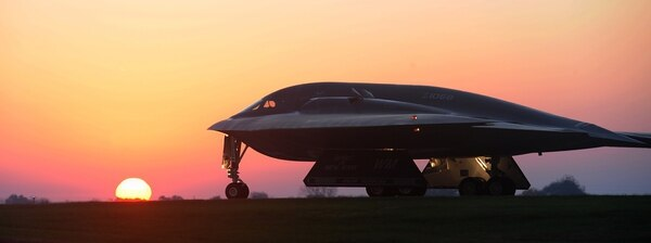 A B-2 Spirit bomber taxis on a flightline during Exercise Global Thunder in October 2014. (Airman 1st Class Joel Pfiester/Air Force)