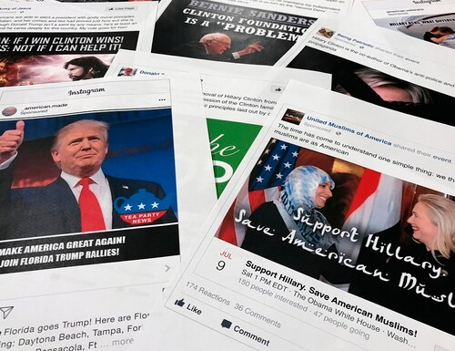 Some Facebook and Instagram ads linked to a Russian effort to disrupt the American political process and stir up tensions around divisive social issues were released by members of the U.S. House Intelligence Committee on Nov. 1, 2017. (Jon Elswick/AP)