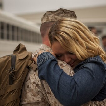 U.S. Marines with Marine Tactical Electronic Warfare Squadron (VMAQ) 3, greet their loved ones as they return from deployment at Marine Corps Air Station Cherry Point, N.C., Oct. 14, 2017. (Photo by Sgt. Joselyn Jimenez/Marine Corps)