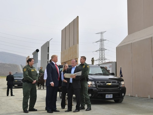 President Donald Trump inspects border wall prototypes in San Diego, Calif., on March 13, 2018. (Mandel Ngan/AFP via Getty Images)