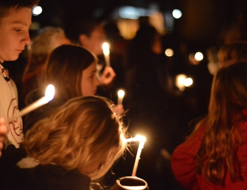 Aztec High School students and area residents gather for a candlelight vigil on Dec. 7, 2017, in Aztec, N.M., after a shooting at the school. (Russell Contreras/AP)