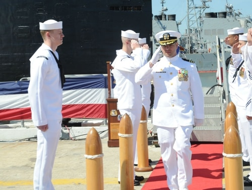 Cmdr. Brad Swanbeck is shown here taking command of the submarine Montpelier in 2016. (Navy)