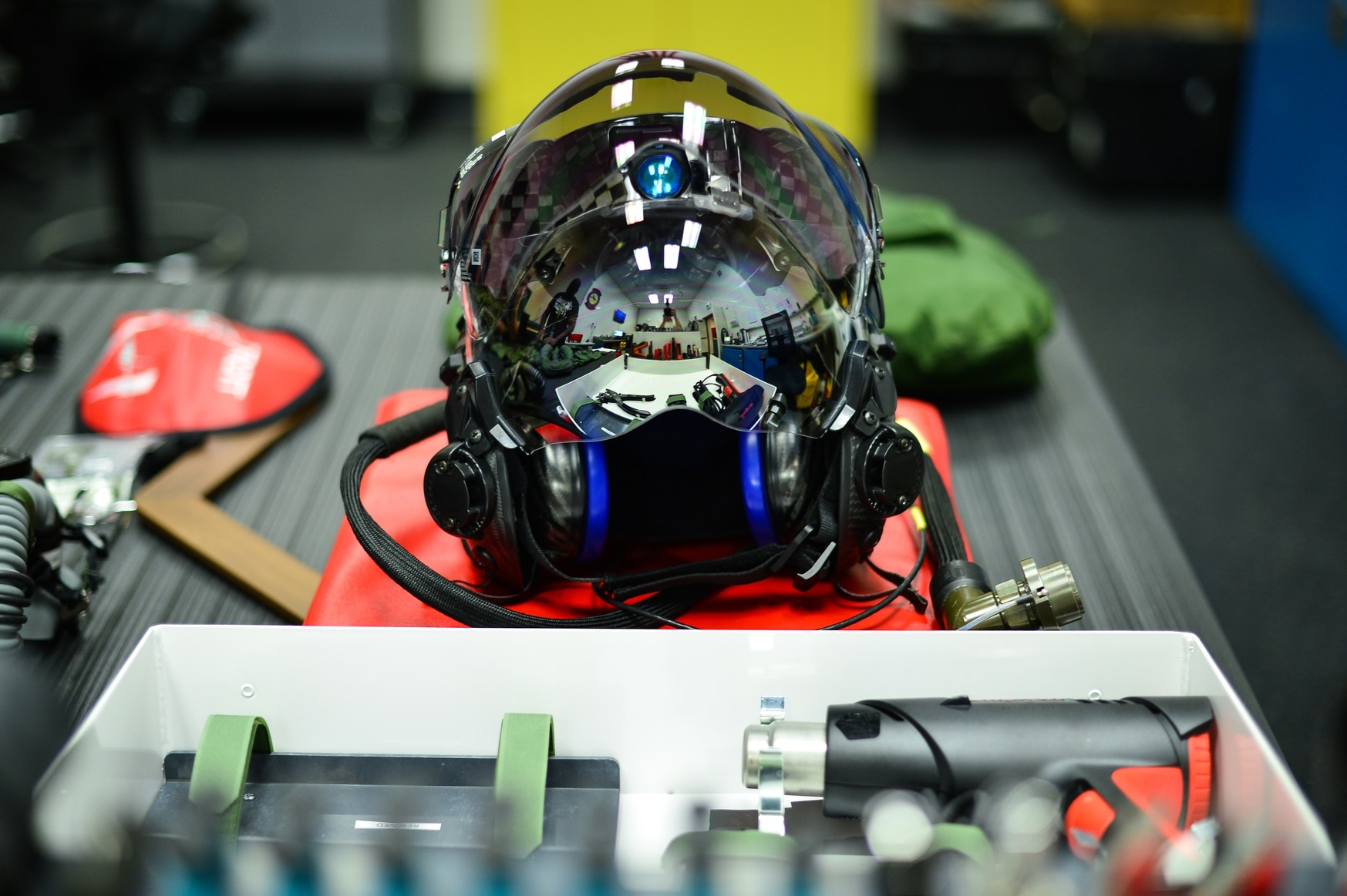 The F-35 Gen III helmet features six external cameras as well as built-in night vision. (R. Nial Bradshaw/U.S. Air Force)
