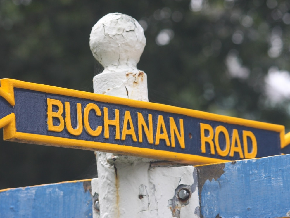 A road sign at the U.S. Naval Academy, photographed on Aug. 23, 2017, in Annapolis, Md., is named after Franklin Buchanan, the academy's first superintendent who left the U.S. Navy to join the Confederate Navy at the outbreak of the Civil War. (Brian Witte/AP)