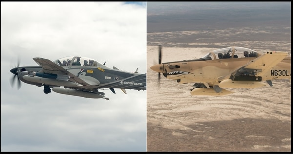 The Sierra Nevada Corp.-Embraer A-29 Super Tucano, left, and Textron AT-6B Wolverine competed in the Air Force's light-attack aircraft competition. (Ethan Wagner/U.S. Air Force)