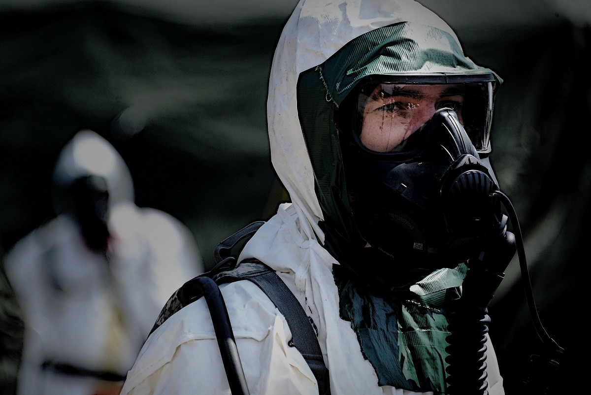 To prepare for urban warfare, soldiers train for chemical