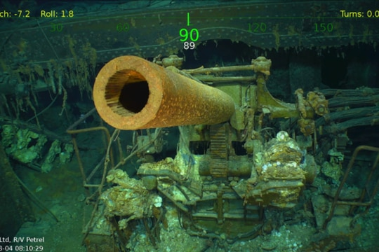 A vivid USS Lexington appears nearly 3,000 meters beneath the surface. The wreck was located yesterday by an expedition led by Microsoft co-founder Paul Allen. (Screengrab of R/V Petrel video).