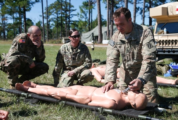 Soldiers receive advanced medical training at Fort Benning, Georgia. (John Bazemore/Associated Press)