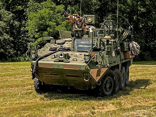 Researchers with the Army's Picatinny Arsenal and Program Executive Office Soldier have adapted the Common Remotely Operated Weapon Station to fire Javelin missiles from Strykers. (PEO Soldier)